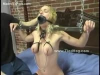Curious amateur whore experiences her first BDSM punishment adventure while nude in this vid