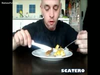 Wild scat movie featuring a dude squatting and pooping then eating it with his breakfast