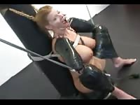 Submissive college whore explores BDSM fetish as she's bound and used in this video