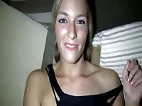 Twenty year old takes a balls deep fucking in this video after she treats dude to tug job