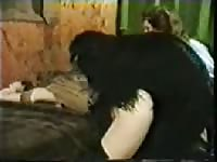 Older slut getting her snug fuck hole screwed by an enormous dog in this bestiality movie