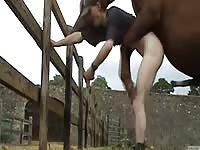Lanky tall dude drops his undies while outdoors on the ranch welcomes anal sex with horse