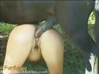 Capable once tight college whore gets her pussy stuffed with horse cock in this great video