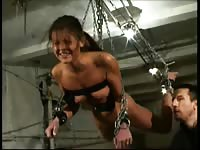 Ferocious BDSM fetish movie featuring a amateur housewife brutally lashed while in restraints