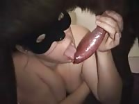 Sperm thirsty animal sex loving married whore shows off her oral skills on a big dog here