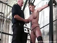 Punishing dude ties up college-aged tramp and punished her real tits and more in this debut
