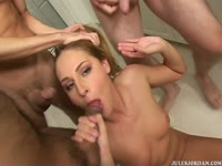 Sexy cum craving Lauren Phoenix puts her dirty mouth to work on five huge cocks in this video