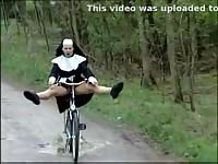 Fun Nun riding a bicycle and flashing her lady parts in this rare and exclusive fetish footage