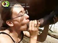 Smoking hot MILF newbie blowing horse penis in this fantastic amateur animal sex video