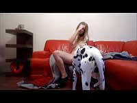 Long legged kinky blonde teen joins her dog on the floor so she can tug his dick on live cam