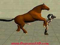 Huge brown horse hammering a petite dark-haired toon slut in this xxx animation sex film